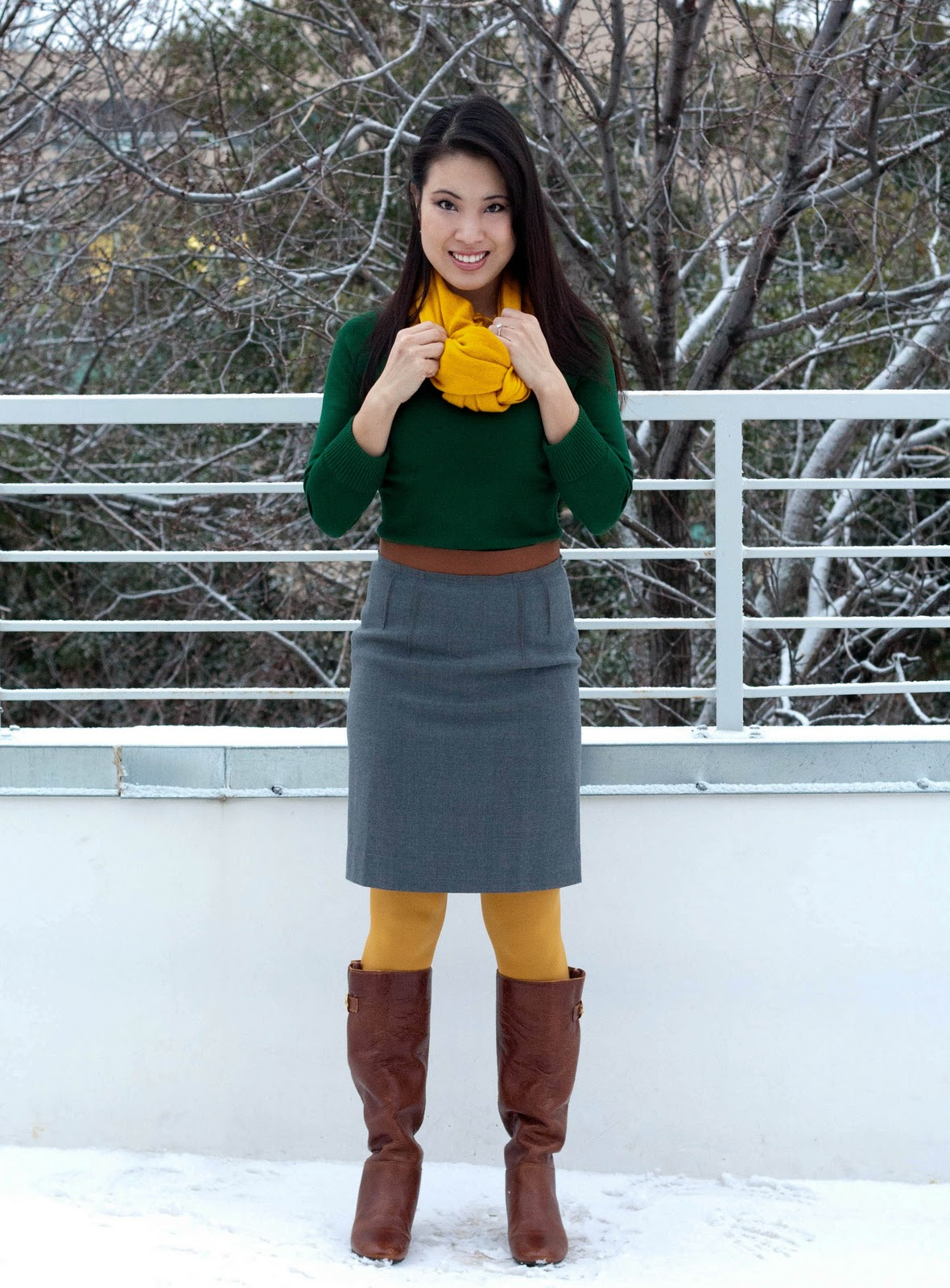 banana republic green sweater loft ribbon skirt mustard scarf yellow tights