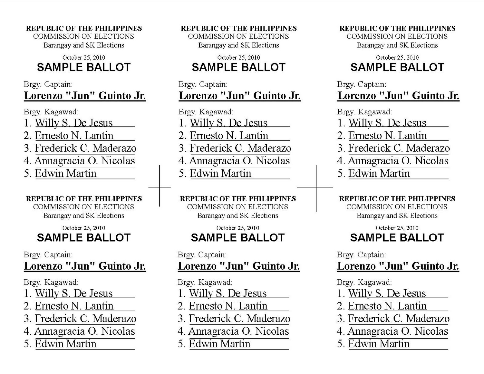 brgy  election sample ballots http://sarisaringsaliksik.blogspot.com/2010/10/copy-of-sample-ballot-barangay-election.html