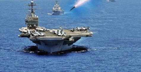 Imagine Figure: U.S. aircraft carrier is attack by missile