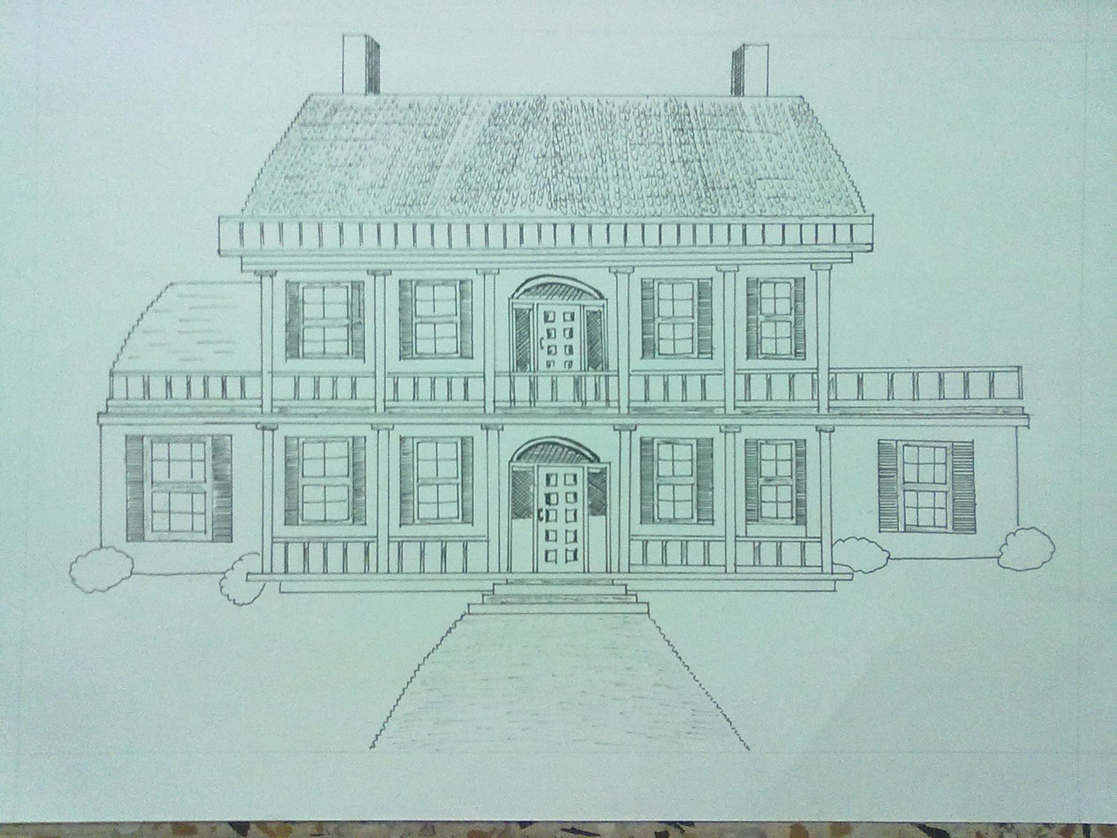 Beginning the journey of drawing my dream house with ink pen for My dream house drawing