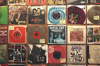 A selection of vinyl singles on display at Minus Zero records, in Notting Hill.