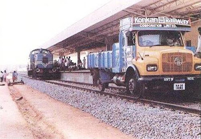 Lorry in Train Track