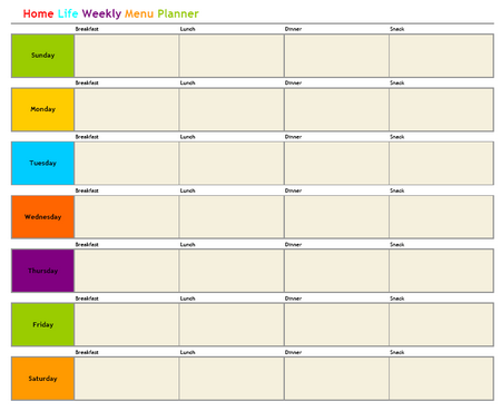 Daycare menu planning printables - InfoCap Ltd.