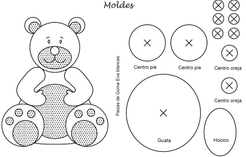 Molde para hacer un oso en foami - Imagui