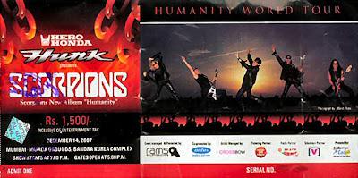 Mumbai Scorpions Show, Humanity Tour Ticket Scan