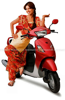 Actress Priyanka Chopra on a Hero Honda Pleasure