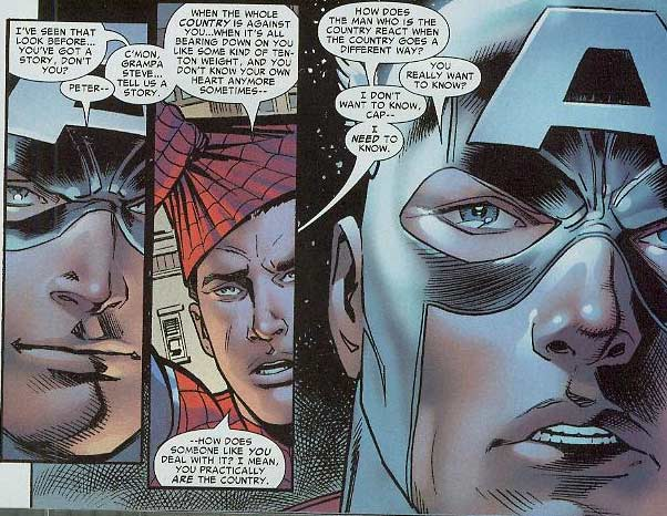 At first Spider-Man sided with Iron Man against Cap  but later