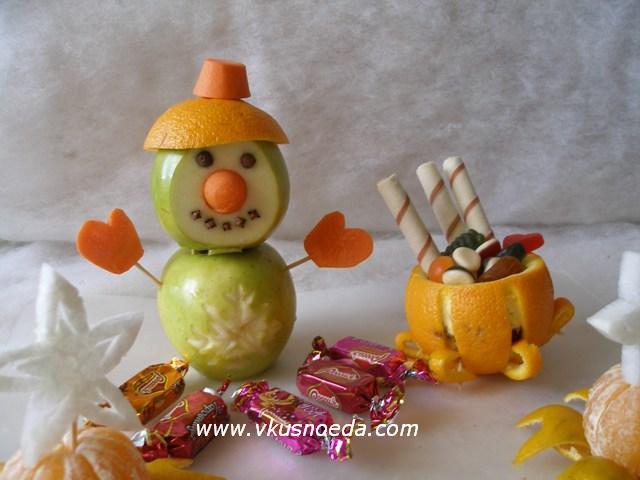 Снеговик из яблок - съедобные поделки из фруктов. Чудеса своими руками