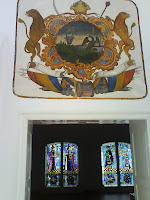 Wallachian flag symbol and stained glass at Cozia Monastery / Vitralii si stema Valahiei de la Manastirea Cozia - Romania