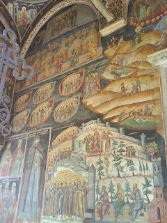 Horezu Monastery entrance paintings, left side, Romania, UNESCO Patrimony