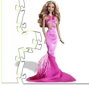 se trata de un puzzle donde tienes que armar a barbie como la imagen que se muestra arriba de tal forma que se vea bella vestida de gala