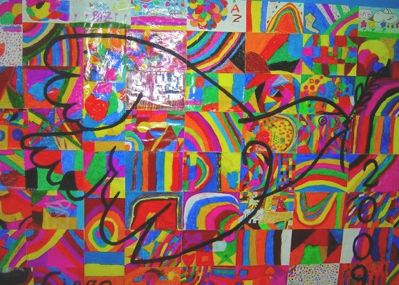 Con dibujos abstractos de colores muy variados, se pegan todos ...