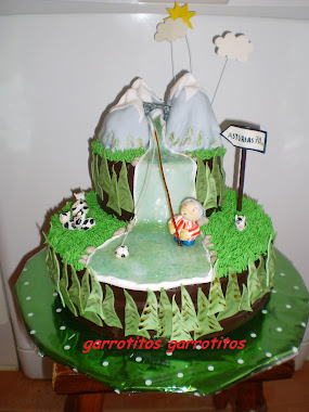 tarta de pesca con pescador