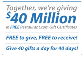 free $10 restaurant.com gift certificate feed it forward 2010