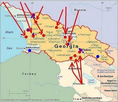 Russia  Georgia War Maps Of Russian Attacks On Georgia