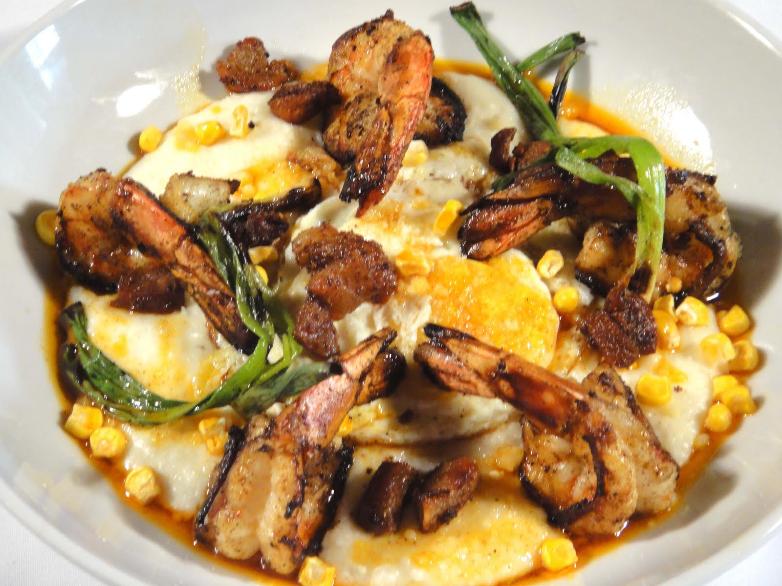 Blackened Wild Shrimp, House Cajun Cracklings - southern grits, fried ...