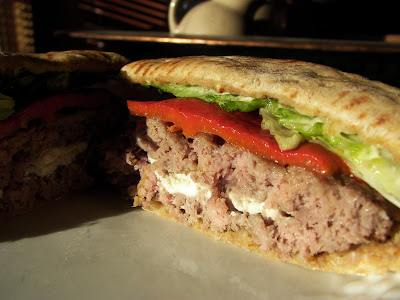 Ambition's Kitchen: FETA STUFFED BURGER W/ PESTO MAYO