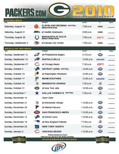 Green Bay Packers Schedule Printable