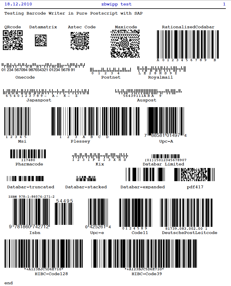 Bar Code Tester : A basis life printing barcodes for free with sap