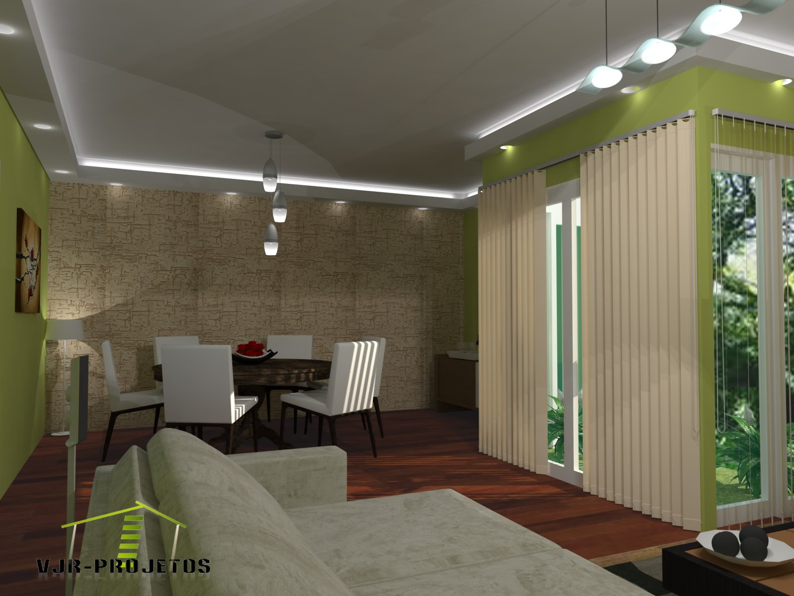 Sala de Jantar Conjugada Sala de Estar / Sketchup   Vray #4A5E38 1600 1200