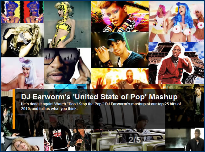 DJ Earworm's Pop 2010 (Don't Stop the Pop) - Mashup of Top 25 Billboard Hits in United State