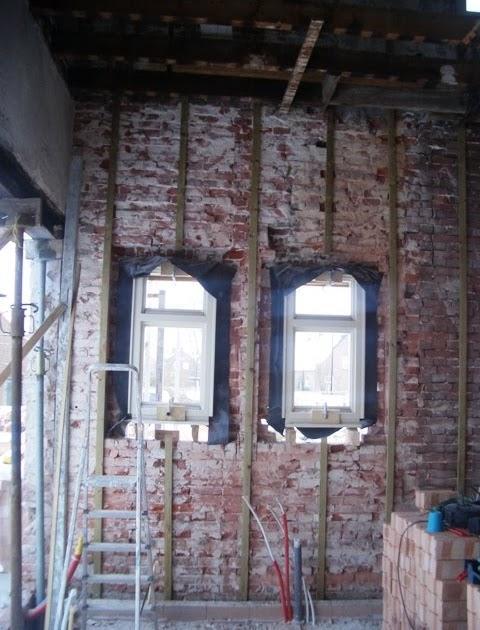 Vlierdenseweg 190 houten regelwerk tegen buitenmuur - Muur steen duidelijk ...