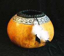 Carved Gourd w/Silver Leaf