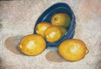 Lemons in a Blue Bowl - JMcEwen