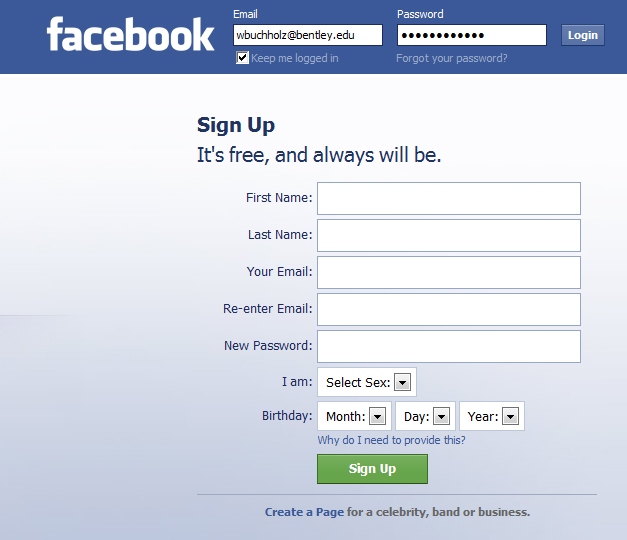 facebook login screen.