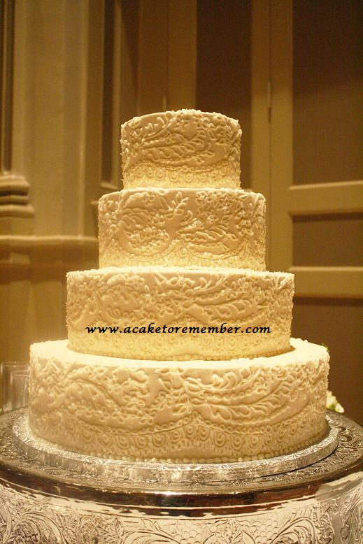 Danzignito\'s blog: Ivory and lace wedding cake We had a few of our ...