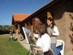 Pintando en Merlo, momentos felices