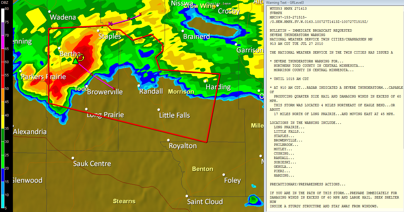 storm warnings north of st cloud