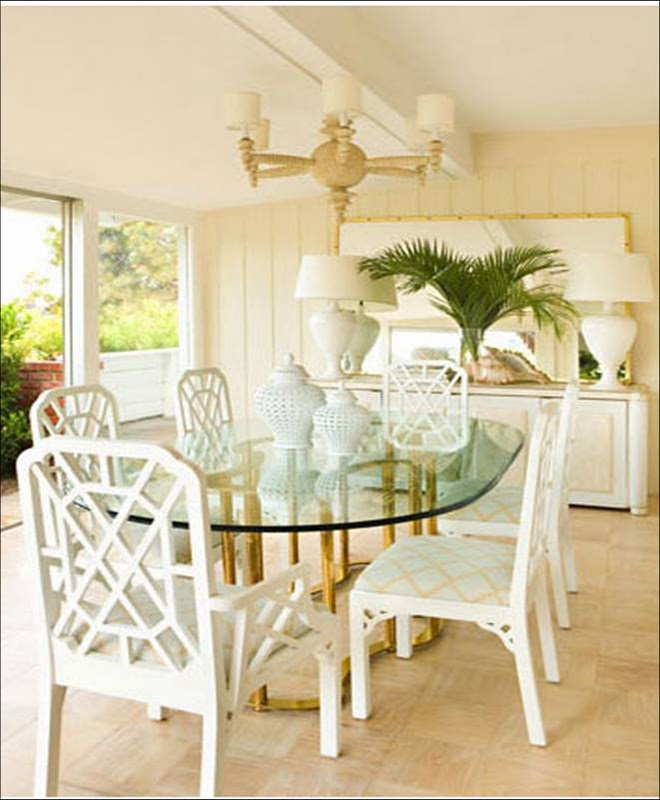 Bazaar of serendipity glam beach house for Cream dining room table and chairs