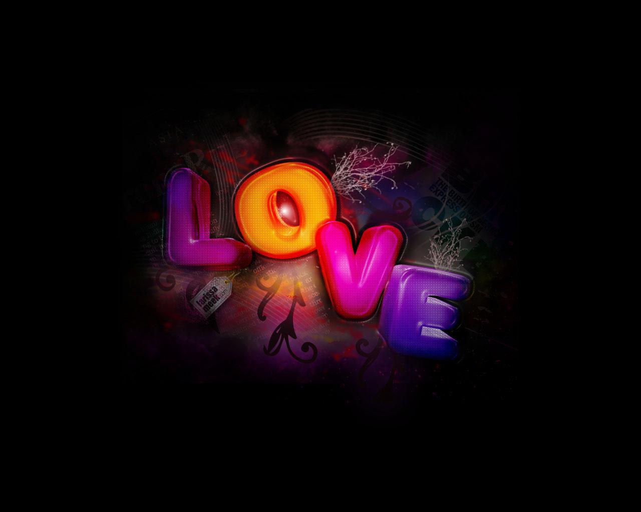 Zwarte Achtergrond Met Gekleurde Love Letters