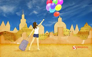 Vrouw met koffer en ballonnen