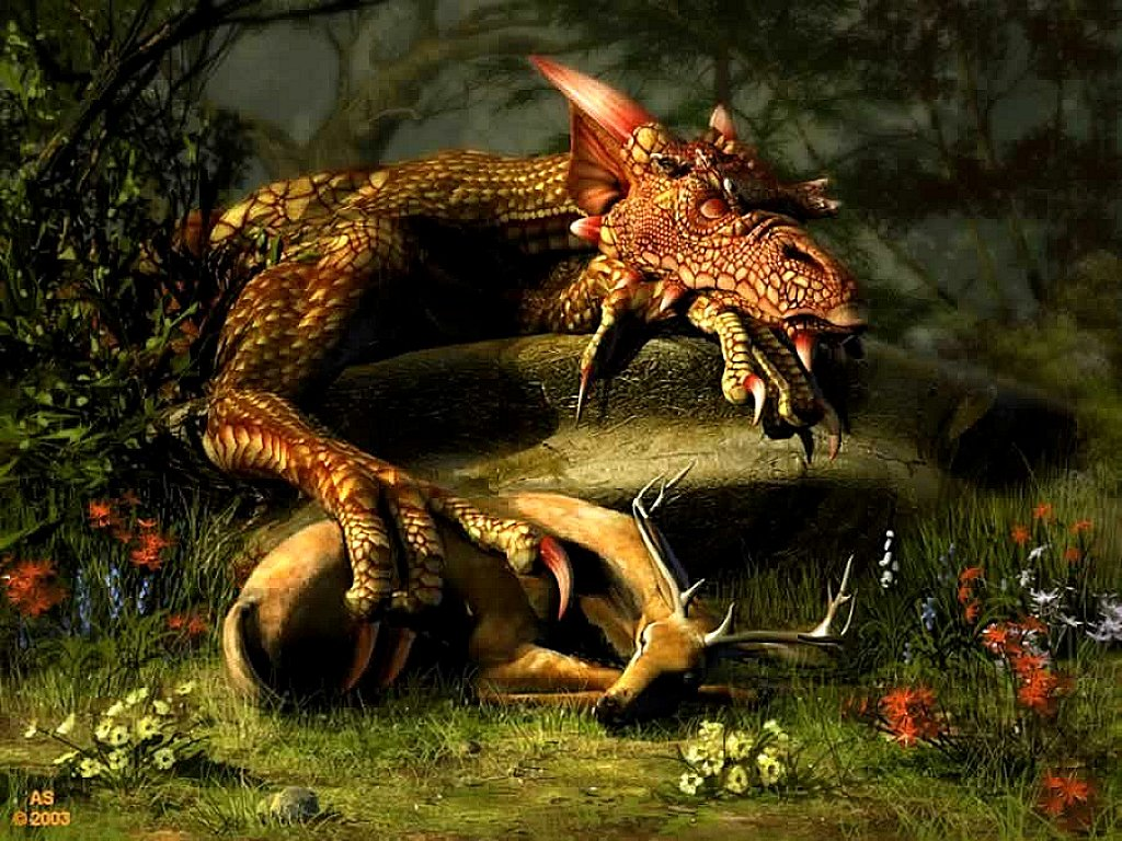 dragon asleep after catching a deer flying dragon flying dragon Dragon