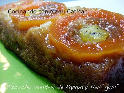receta de bizcocho invertido de papaya y kiwi