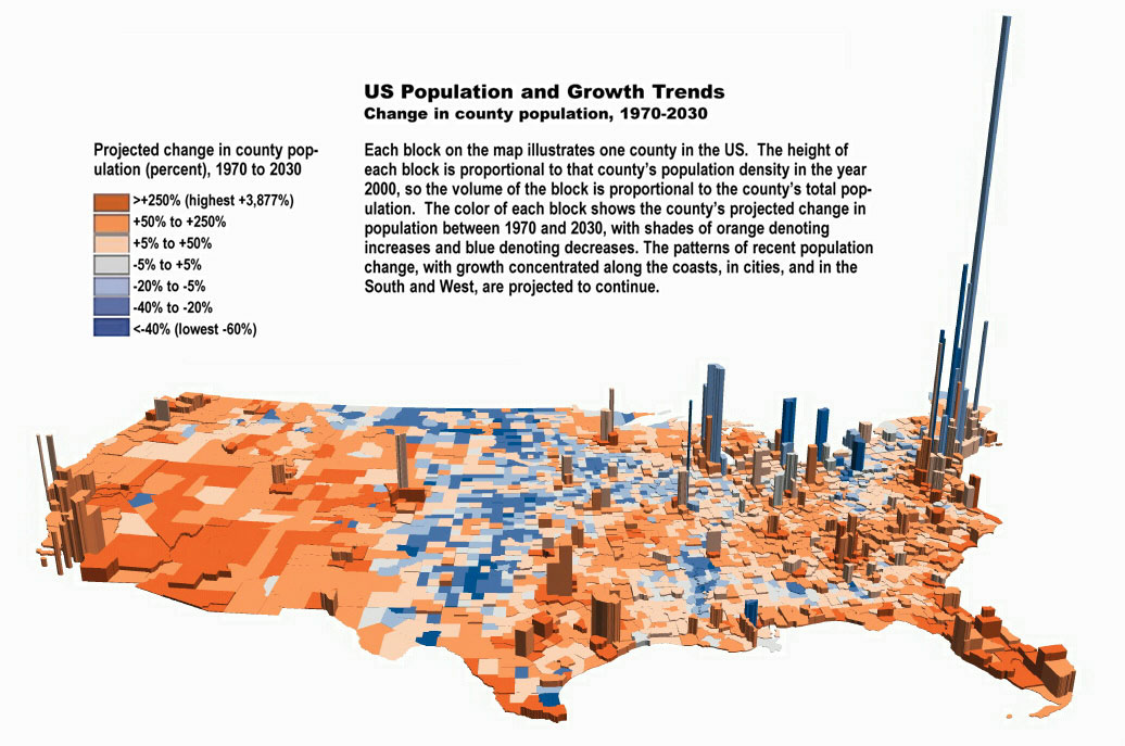 Us Population Map Statistics Graph Most Populated Cities Density - Map of us population density