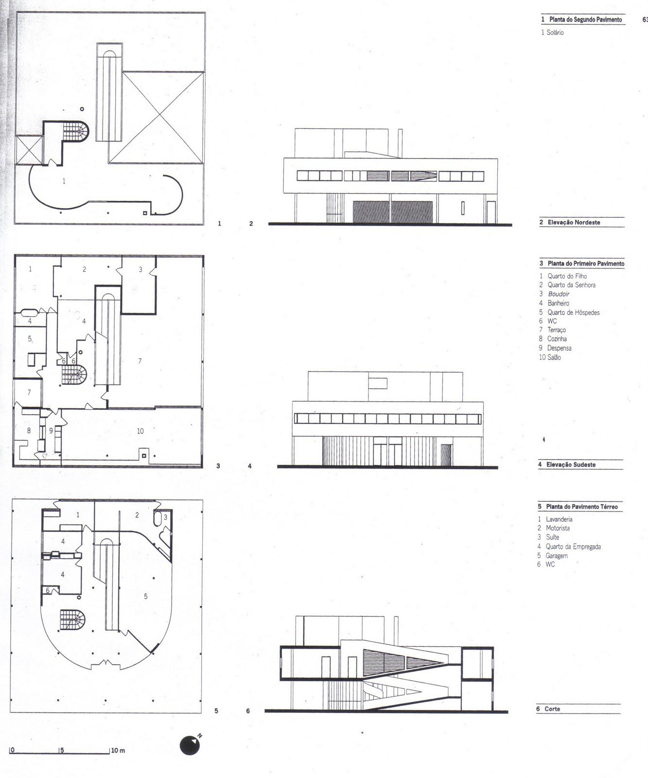villa savoye planta baixa e fachadas