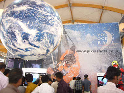 volvos automobile and new engine and safety technologies demonstrated volvos pavilion front view setup at ocean race village of cochin india kerala
