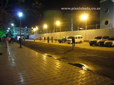 night photograph of the streets in volvos race village at welligton island cochin india