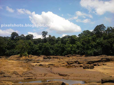 empty river bed rocks and mud photographed from kerala river named kallada.marshy river bed photographs