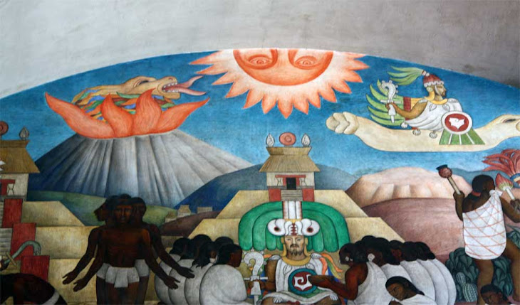 QUETZALCOATL, 12 DISCIPLES?  SHEPHERDS STAFF? THE WHITE GOD AT THE PRESIDENTIAL PALACE; MEXICO CITY