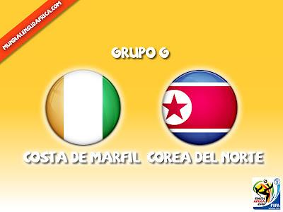 Partido Costa de Marfil vs Corea del Norte Grupo G