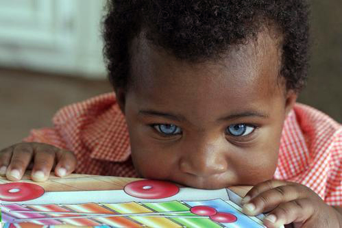Mixed Newborn Baby Girls With Blue Eyes Half polish & half somali baby