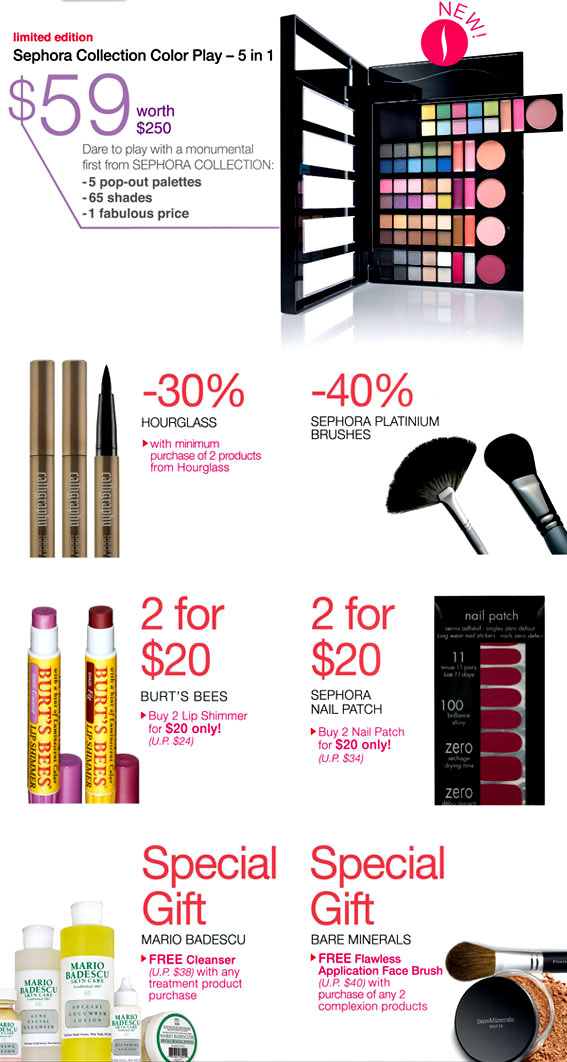 Sephora Promo Code Singapore - November Sephora special offers and discount at Paylesser Singapore. Latest Sephora deals and offers Get up to 40% Off on Bath and Body Products, Up to 40% Off on Skin Care Products, 20% Off on Men Sephora Collection Shaving Brush, Best Seller Products Starting at $31 and many more/5(56).