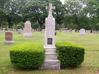 Lajoie headstone at St. Joseph's cemetery, Chelmsford, Massachusetts
