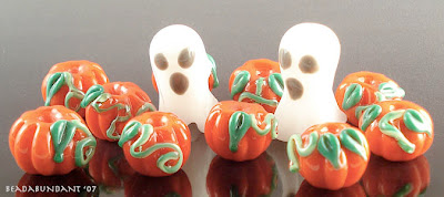 Halloween Ghost and Pumpkins Lampworked Bead Set
