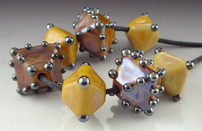 Brown and Tan Crystal Lampworked Beads