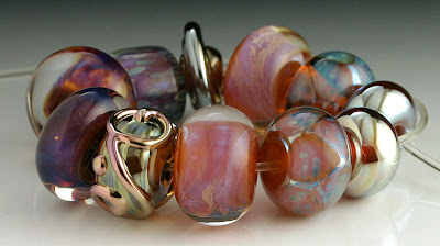 Pink Purple and Gold Lampwork Beads